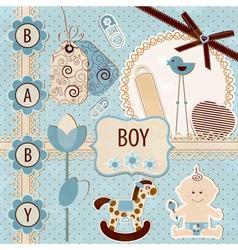 Scrapbook Baby Boy Set vector image