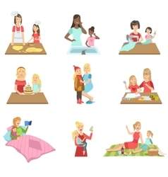 Mother and daughter passing time together set of vector