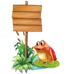 A frog above the water lily beside the wooden vector image