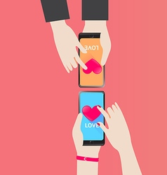 Smartphone serch heart for love in valentine day vector
