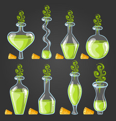 Set bottles of potion with magic smoke vector