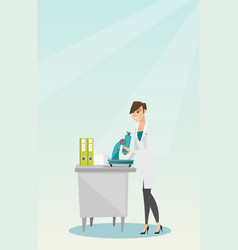 Laboratory assistant with a microscope vector