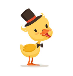 little yellow duck chick in top hat and bow tie vector image
