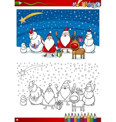santa claus group coloring page vector image