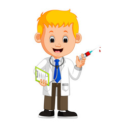 happy doctor holding syringe vector image
