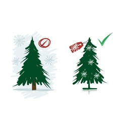 Artificial christmas trees instead natural from vector