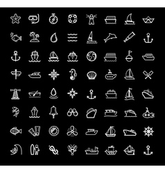 black boat and ship icons set vector image