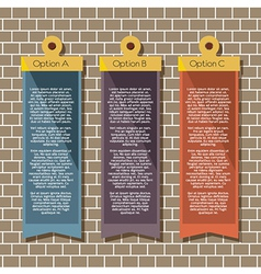 Square banners hang on brick wall vector
