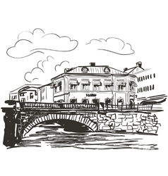 Town riverside sketch vector