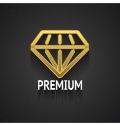 Golden Diamond Logo Design on Gray Background vector image