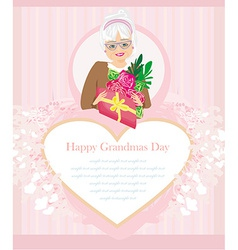 Senior woman with a bunch of flowers happy vector