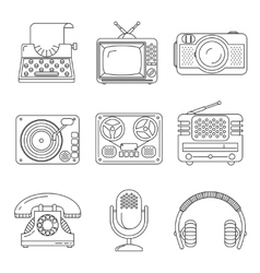 Retro media devices icons in thin line style vector