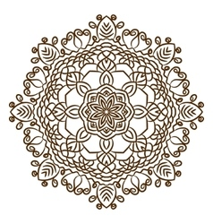 Hand drawn henna tattoo mandala lace vector