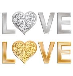 glitter love valentine vector image