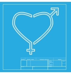 Gender signs in heart shape white section of icon vector