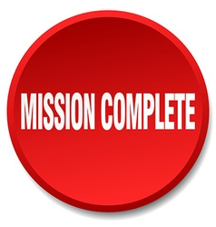 Mission complete red round flat isolated push vector