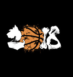 Abstract number 2018 dog and basketball vector