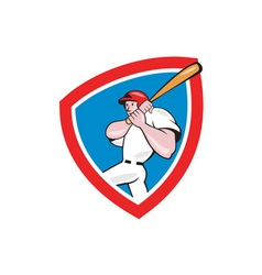 Baseball player batting crest red cartoon vector