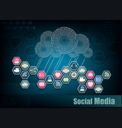 blue background with computer cloud and internet vector image vector image