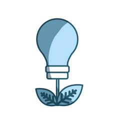 Blue energy bulb with leaves icon vector