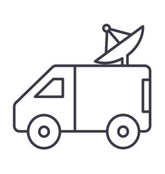 broadcasting car with satellite dish line vector image vector image