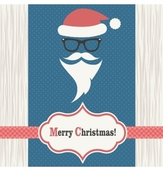 Card with Santa Claus on the wood background vector image