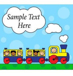 Cartoon locomotive and children traveling vector