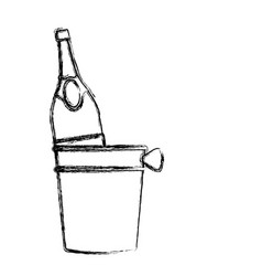 Champagne bottle in ice bucket vector