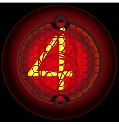 Digit 4 four Nixie tube indicator vector image vector image
