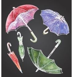 Drawing watercolor set of umbrellas vector