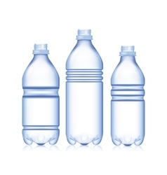 Empty Bottle Set Realistic Blank Plastic Blue vector image vector image