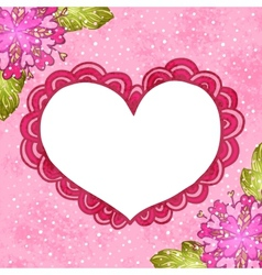 Flower background with doodle heart vector image