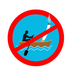 forbidden to smoke on boat red sign prohibiting vector image vector image
