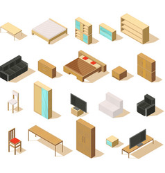 furniture isometric elements set vector image vector image