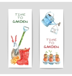 Gardening watercolor banners set vector