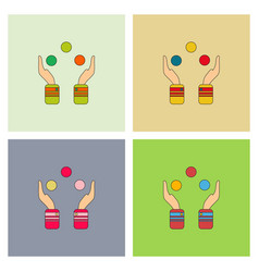 Hands juggling with balls collection vector