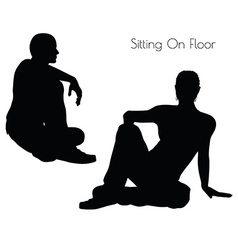 man in Sitting On Floor pose on white background vector image