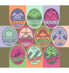Mountain badges linear 2 mono vector