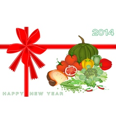 New year gift card with vegetable and food vector