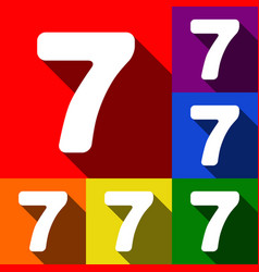 Number 7 sign design template element set vector