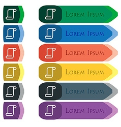 paper scroll icon sign Set of colorful bright long vector image