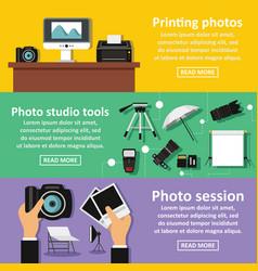 photo studio banner horizontal set flat style vector image vector image