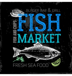 Restaurant sea food menu fish market poster hand vector