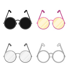 Round glasses in a pink framehippy single icon in vector