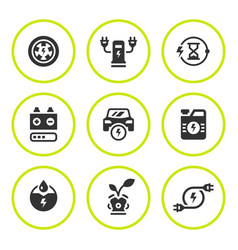 Set round icons of electric car vector