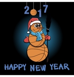 Snowman of basketball vector