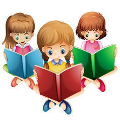 three girls reading books vector image