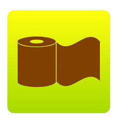 Toilet paper sign brown icon at green vector