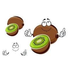 Whole and sliced kiwi fruit character vector image vector image