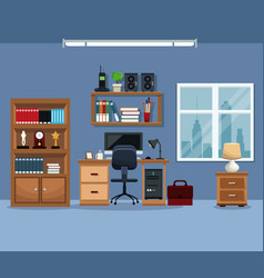workspace bookshelf desk chair stereo telephone vector image